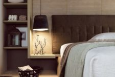 30 a big frabric covered lampshade adds coziness to the bedroom decor