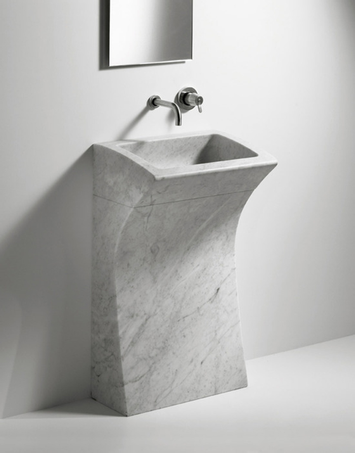 bent white marble square free-standing sink will fit any modern bathroom