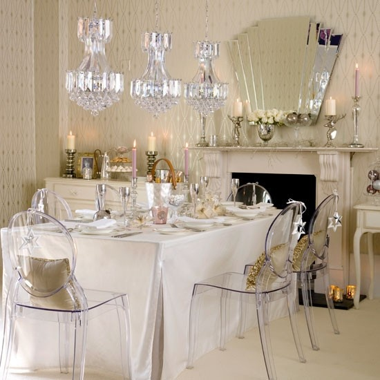 gorgeous crystal chandelier composition over the dining table