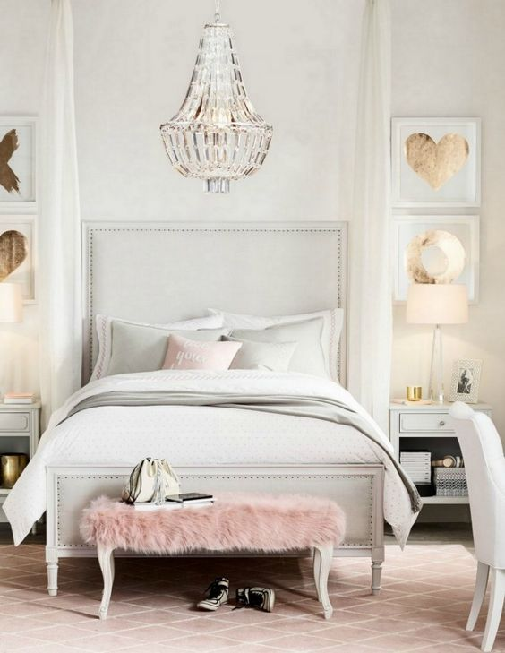 modern crystal chandelier for a cool glam bedroom