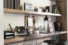 31 floating shelves in a niche and a floating desk top with the same look