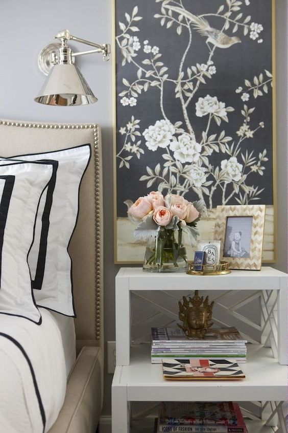 a nickel wall sconce is great for a glam feel in your bedroom