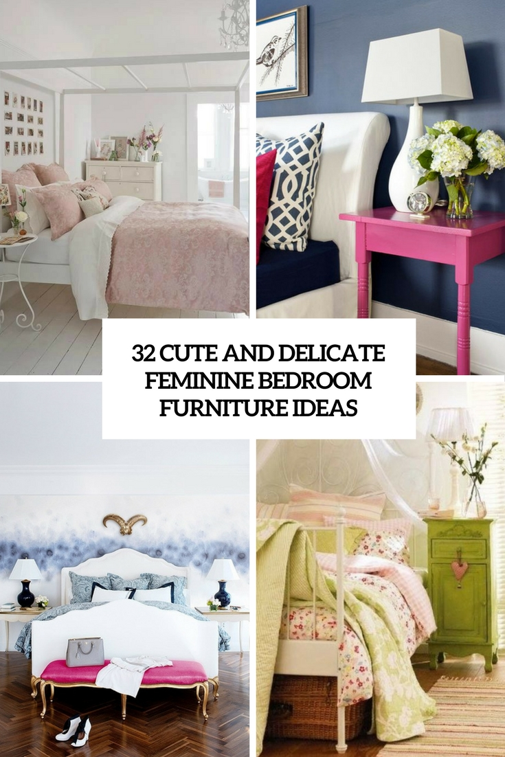 cute and delicate feminine bedroom furniture ideas cover