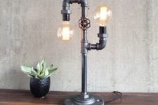 33 double industrial table lamp with bulbs and a faucet