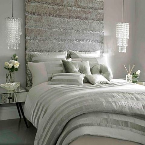 gorgeous glam crystal pendants make the bedroom very feminine and chic