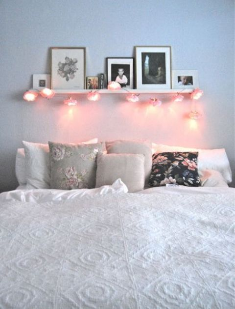 some hanging lights over your bed can be enough for illuminating