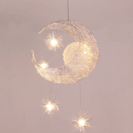 wicker moon and stars pendant lamp will be a show stopper in any room
