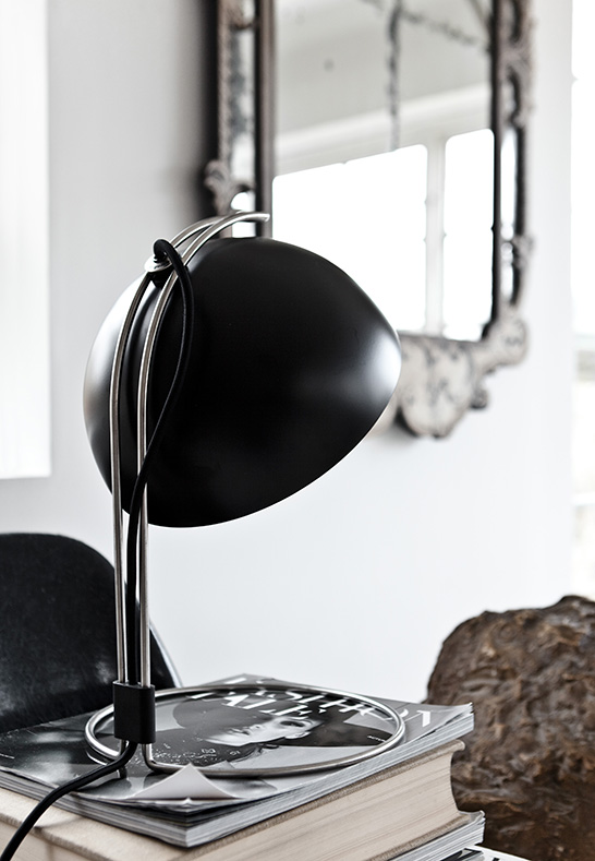 industrial nickel and black table lamp with an eye-catchy design for a manly office