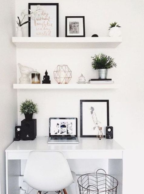 white floating shelves echo with the white lacquer desk for a perfect  stylish look