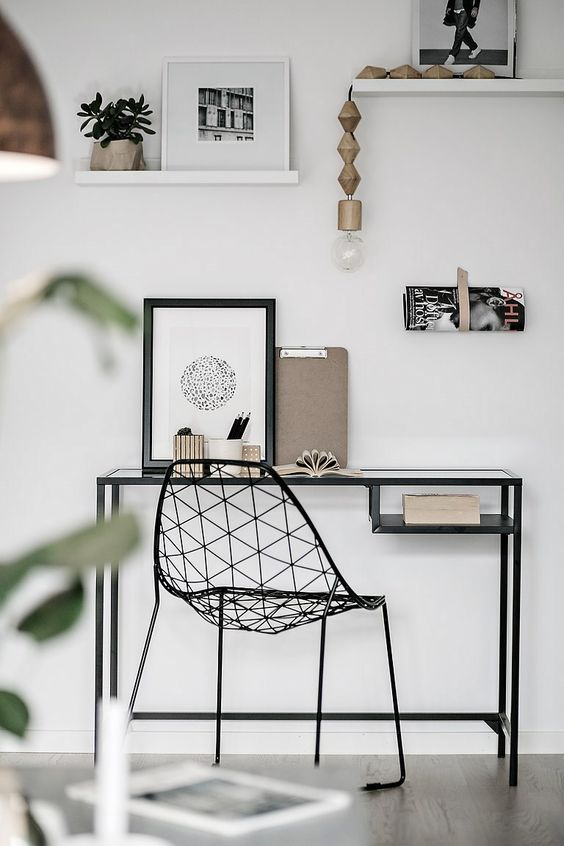 Scandinavian home office with two floating shelves