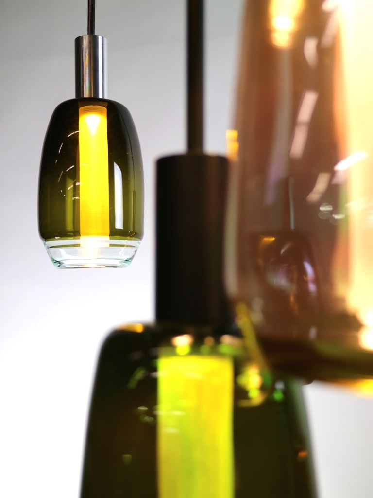 Blown Glass Pendant Lamps Of Repurposed Materials