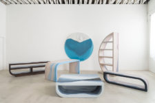 01 Escape furniture collection blends an unusual choice of materials and unique stratified tones