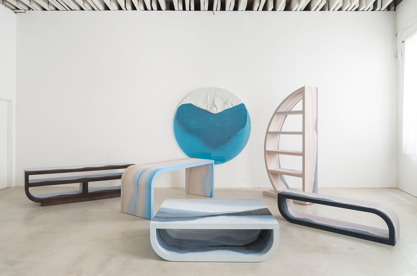 Escape furniture collection blends an unusual choice of materials and unique stratified tones