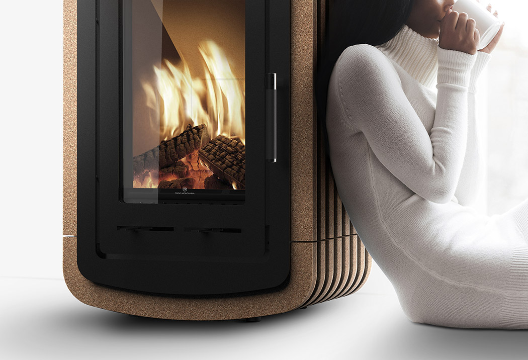 Natura is a wood stove of steel and cork with a chic modern look and very cozy and comfy