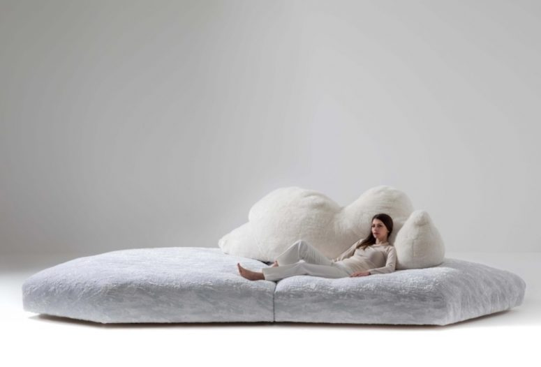 Pack Sofa by Edra is a unique statement piece featuring an ice float and a back looking like a bear