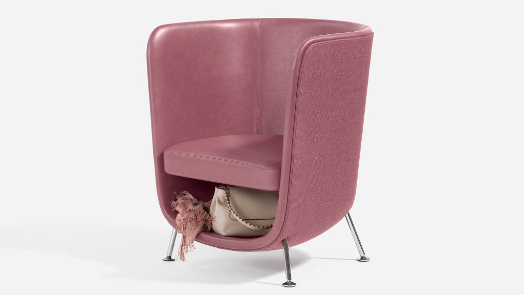 Pocket armchair is a cool piece with an incorporated storage space that helps to keep your space uncluttered in a stylish way