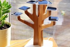 01 Solar Suntree battery charger is an eye-catchy piece that can accomodate a lot of gadgets at once and recharge them all
