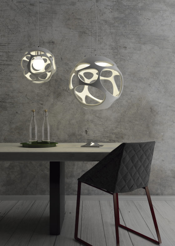 These modern fluid lamps called Organica are inspired by nature, mostly marine rocks with cavities