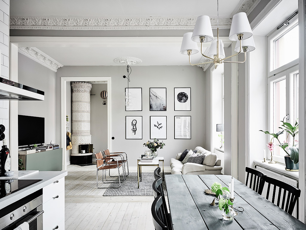 This adorable light filled apartment is done in classic Swedish style and if flooded with light