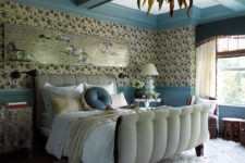 01 This bedroom has a whimsy and eye-catching design with a beautiful and peaceful shade of blue
