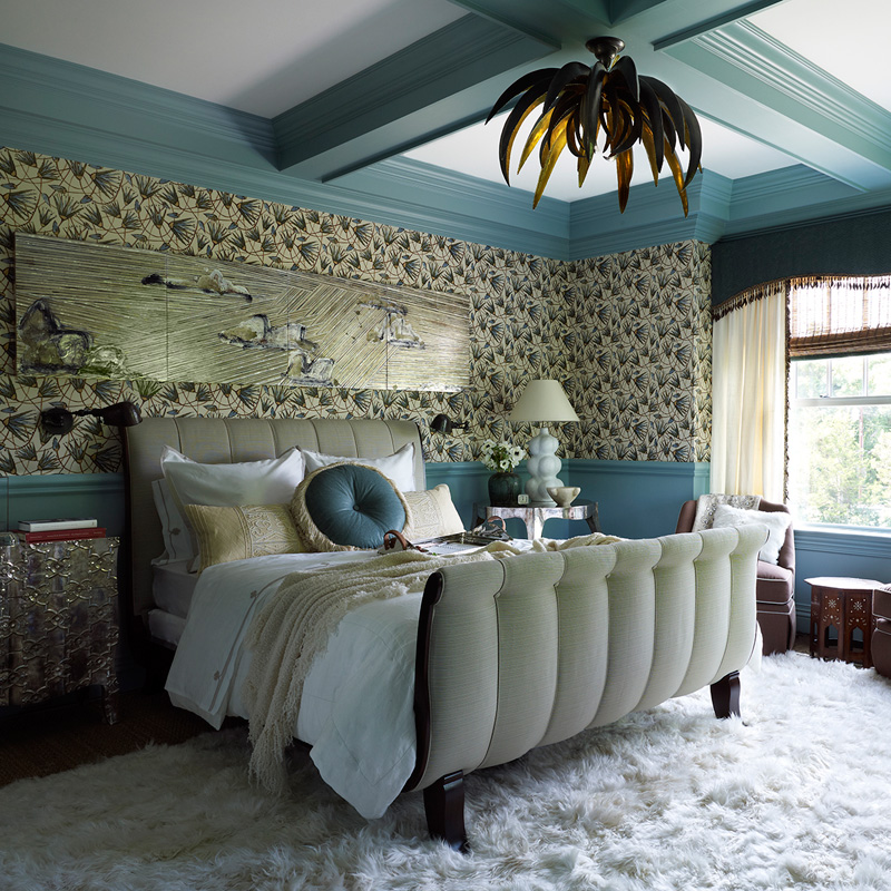 This bedroom has a whimsy and eye catching design with a beautiful and peaceful shade of blue