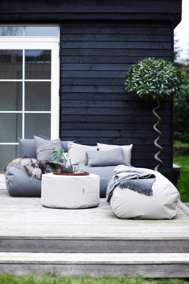 This outdoor furniture collection is made of bean bag chairs, cushions, ottomans and sofas with a truly Scandi feel