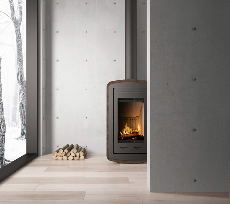 A steel stove is covered with cork to make touching it comfy and to give it a natural look