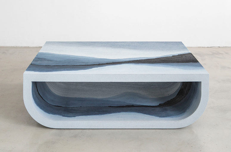 Escape coffee table of silica, powdered glass and sand in blue grey shades