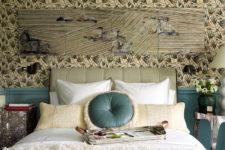 floral wallpaper in a bedroom