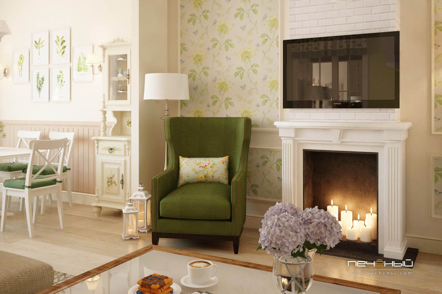 This is a part of the seating room with a faux fireplace and a cozy green armchair to spend evenings there