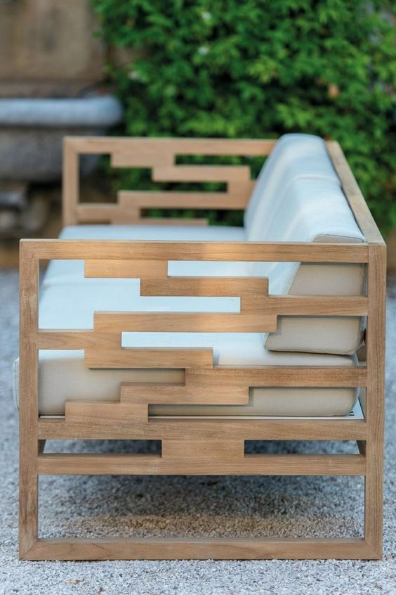 Modern Teak Bench With Off White Upholstery Looks Chic