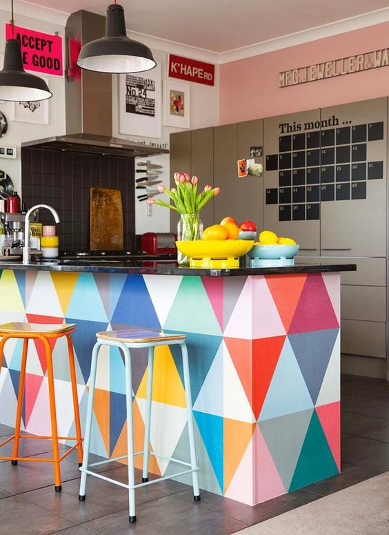 paint your kitchen island with bold triangles to add a bold touch
