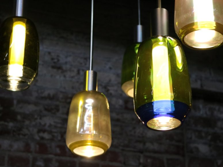 Incalmo pendant lamps are hand blown using repurposed wine bottles, which is a super eco-friendly idea