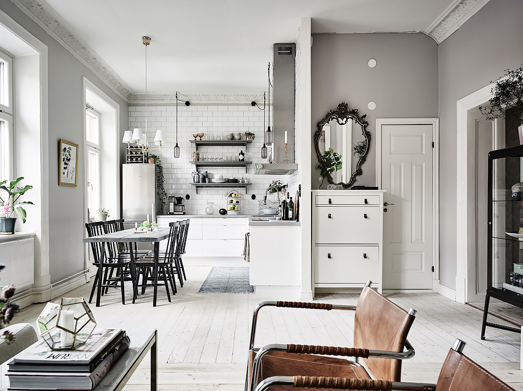 The main colors are white and off whites, and different materials created a textural and more interesting look