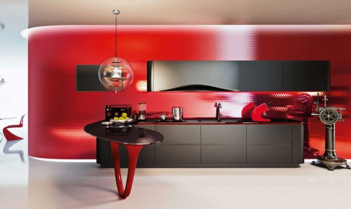 The red lacquer kitchen screams Ferrari race cars and looks really wow