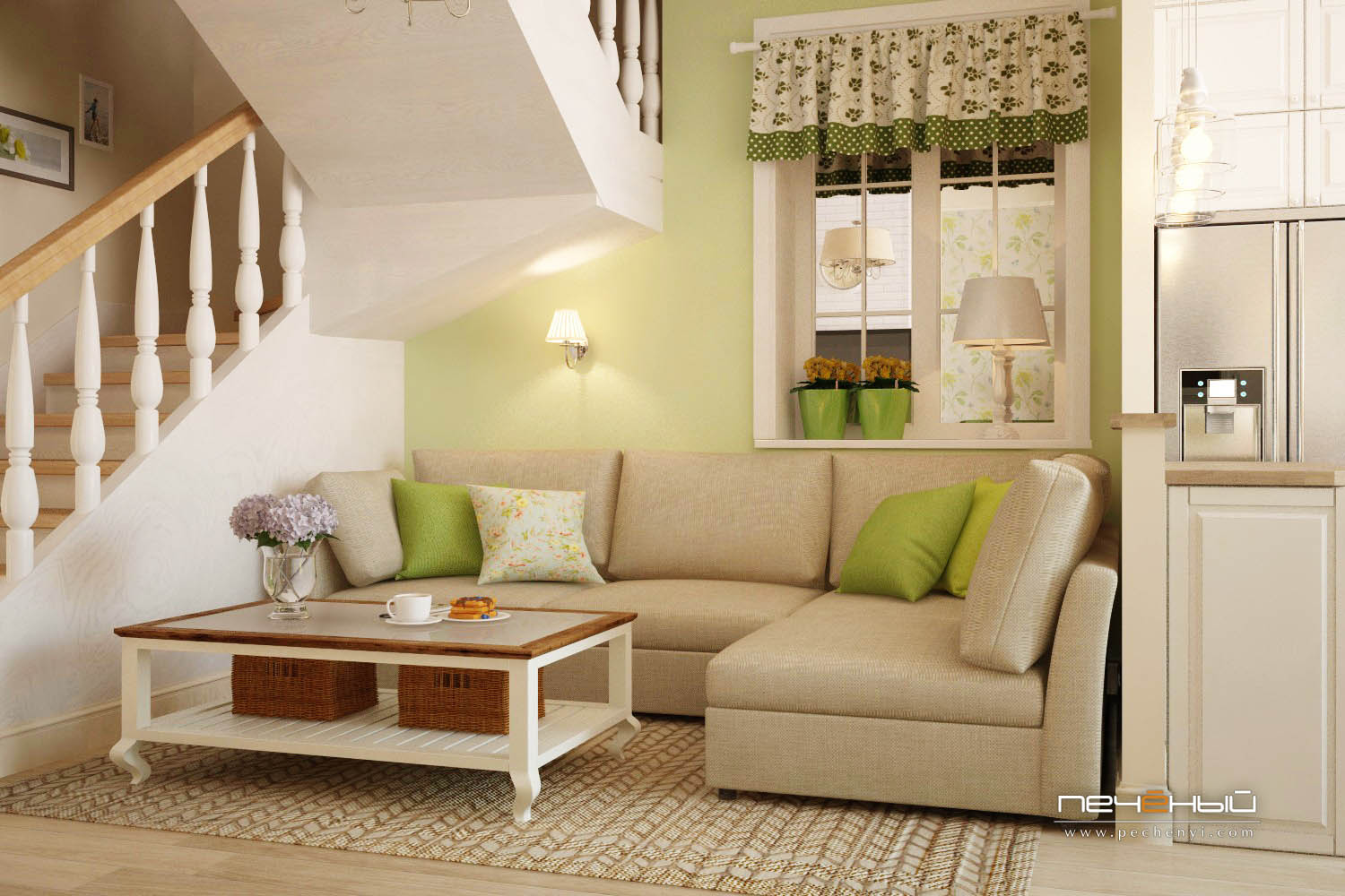 There's a lase window here and neutral upholstery and rustic details make the space cozier