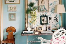 04 a light blue statement wall and works of art are amazing for a girlish space