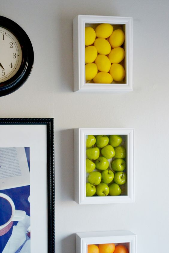 colorful kitchen wall art with fake fruits looks awesome