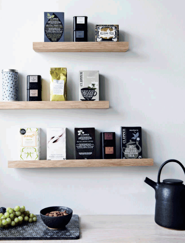 A pretty little combo of shelves with an assortment of tea and coffee