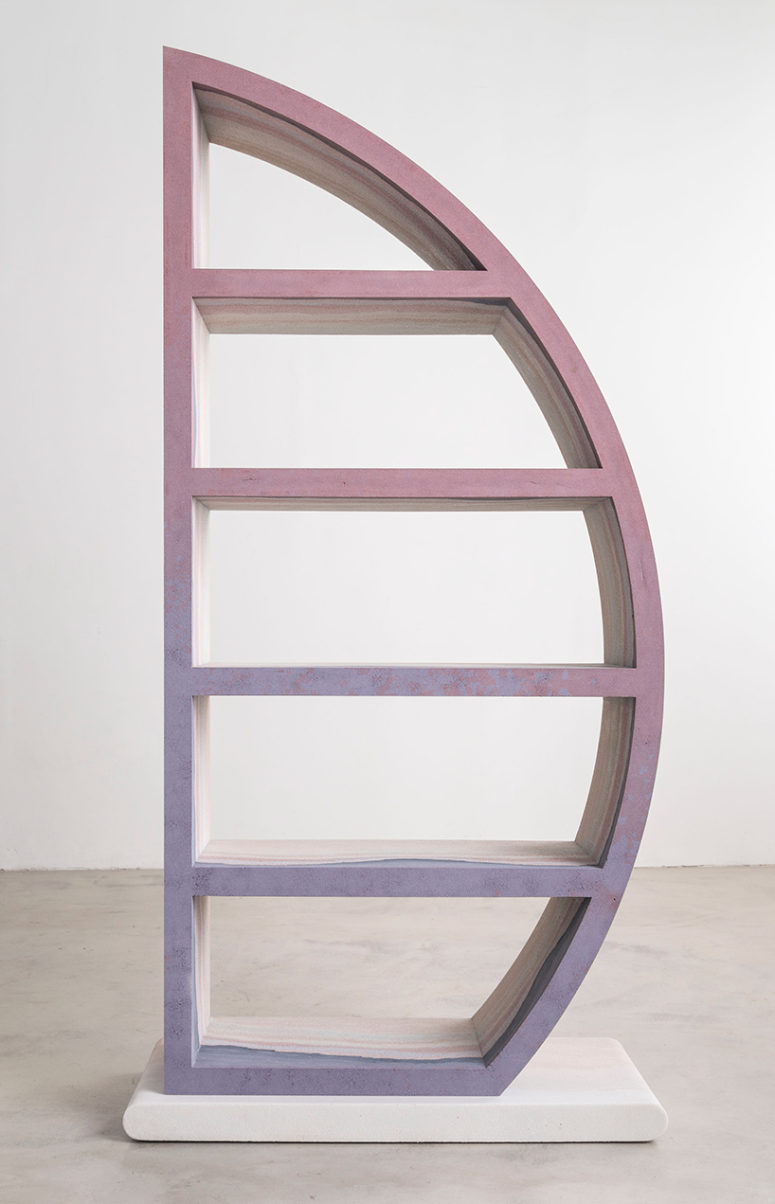 Escape bookcase is done in light purple, grey and pink shades