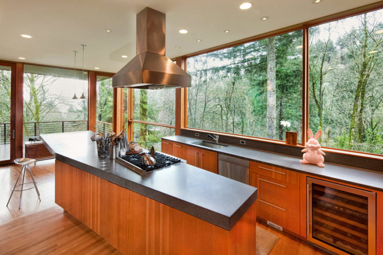 Look at this kitchen - due to the glazings it seems to be located outdoors - I'd love to have meals there every time