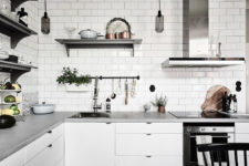 05 Metal touches and glass pendant lights add a textural look