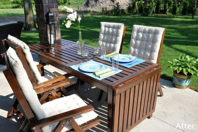 Applaro dining set with chairs with armrests is a simple and cute choice for an outdoor space