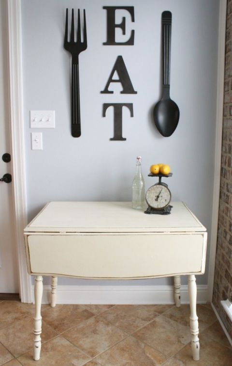 30 eye catchy kitchen wall decor ideas digsdigs for Kitchen colors with white cabinets with large metal letter wall art