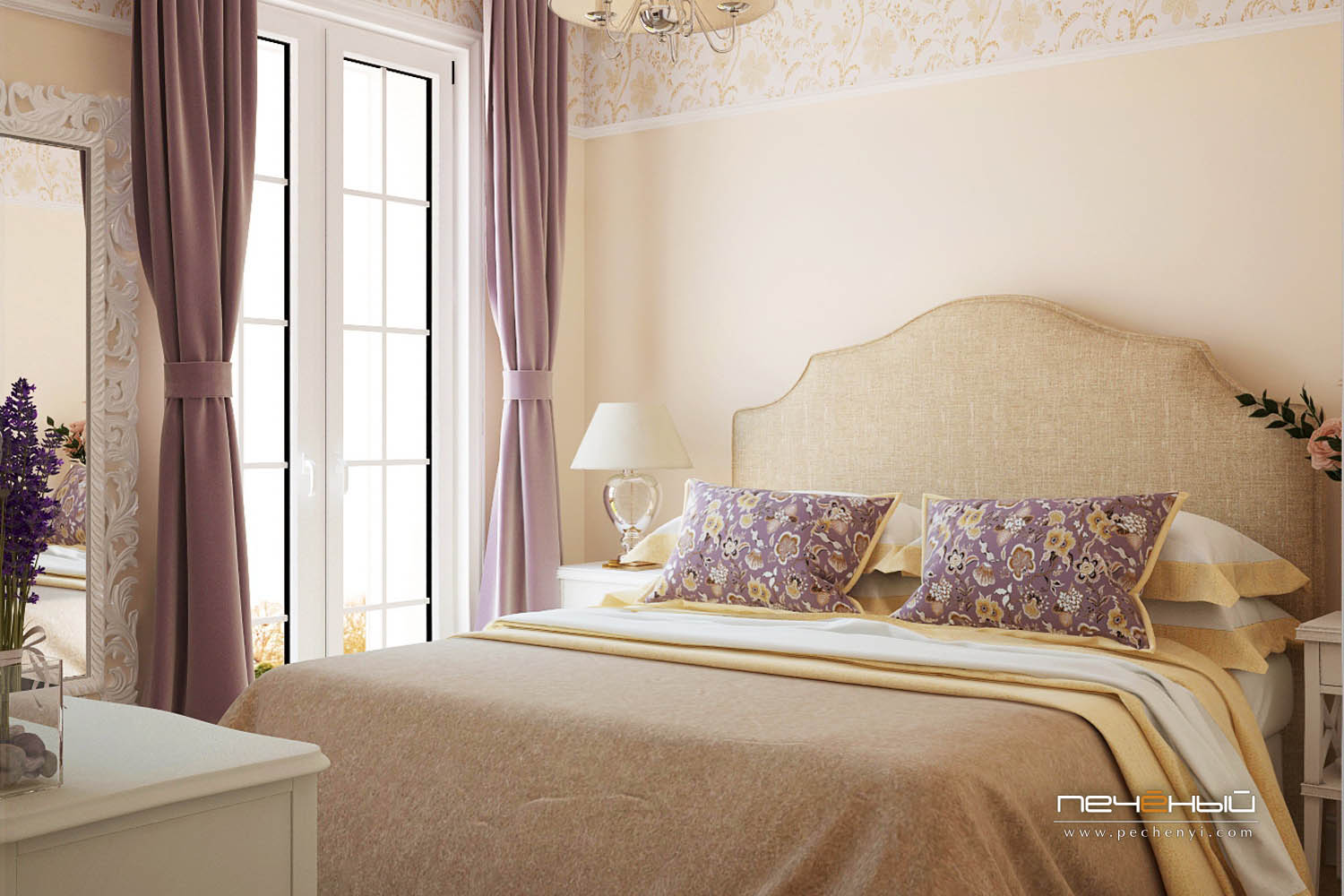 The master bedroom is done in buttermilk and purple, textiles make the room very cozy and eye catchy
