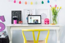 06 a bold banner and a neon yellow chair to give a fresh feel to the space