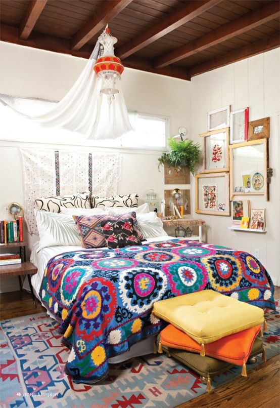 boho textiles and pillows are an easy and budget-friendly way to make your bedroom cool