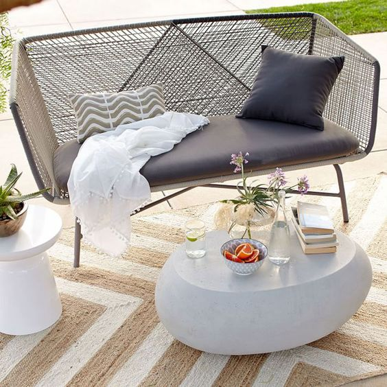 chic woven sofa with grey sofa and cover is comfy and looks ethereal
