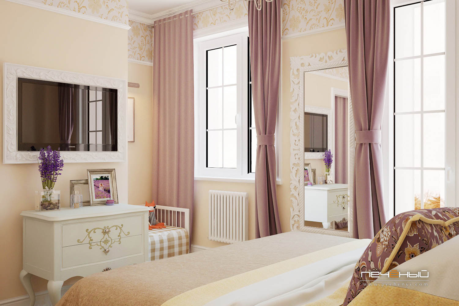 Refined furniture and frames and lots of light coming in turn this bedroom into perfection