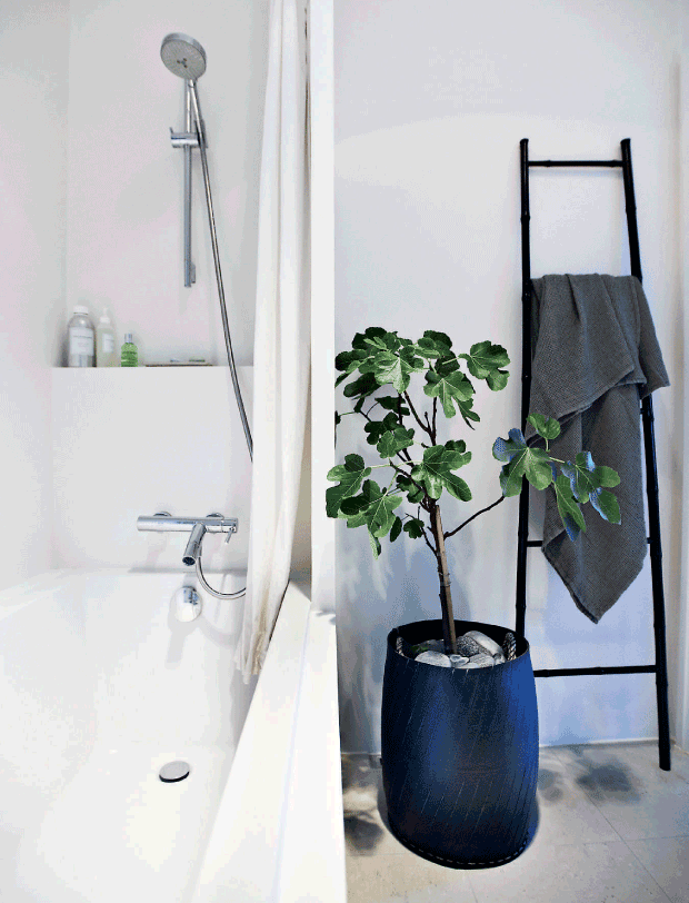 The bathroom is light and small but a potted plant and a black stairs for storage make it cool